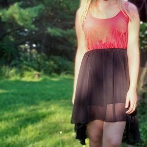 ☆ Coral & black high-low dress ☆